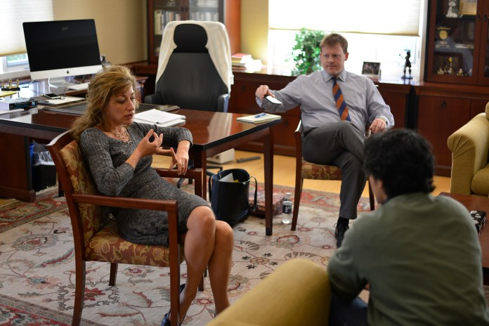 In this photo,UConn president Susan Herbst is seen in her office during her office hours on Wednesday, Oct. 21, 2015. Herbst held a question and answer session with students, faculty and alumni on Monday to discuss the the future of the university.(Jason Jiang/The Daily Campus)