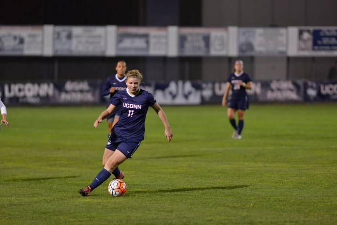 UConn freshman forward Kim Urbanek dribbles the ball during the Huskies' game against East Carolina at Joseph J. Morrone Stadium on Thursday, Oct. 8, 2015. The team is preparing for a rematch against the Pirates on Tuesday in the American Athletic Conference tournament quarterfinal round.(Jason Jiang/The Daily Campus)