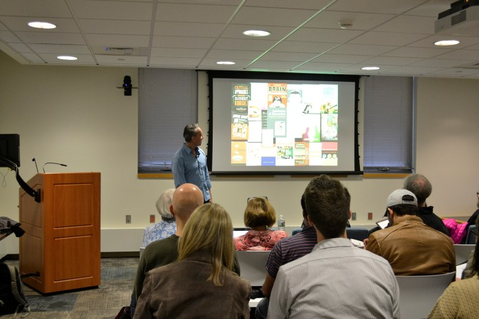 """Ohio State University professor Luis Aldama is seen during his presentation """"The Science of Storytelling"""" on Monday, Nov. 2, 2015. (Rebecca Newman/The Daily Campus)"""
