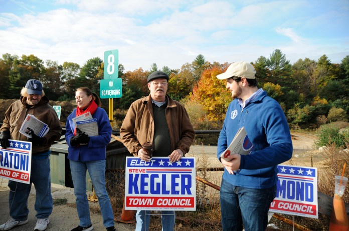 From left to right: Board of education candidate Al Fratoni and town council candidates Virginia Raymond, Steve Kegler and Mark Sargent. (Amar Batra/The Daily Campus)