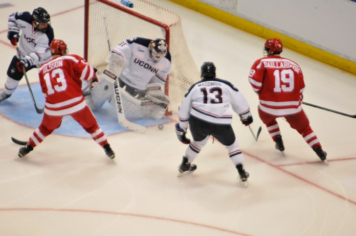 UConn goalie Rob Nichols makes a save during the Huskies 5-2 win over Boston University on October 27, 2015. Nichols has made 151 saves this season. (Amar Batra/The Daily Campus)