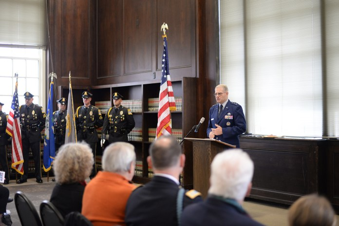 Keynote speaker,United States Air Force Major General (Ret.) and UConn graduate Joseph Ward speaks during a Veteran's Day ceremony honoring 1st Lieutenant John Michael Dunne in the Wilbur Cross North Reading Room in Storrs, Connecticut on Wednesday, Nov. 11, 2015. (Ashley Maher/The Daily Campus)