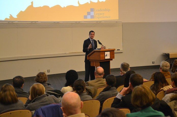 In this file photo, Connecticut Gov. Dan Malloy speaks in Laurel Hall at the University of Connecticut on Feb. 26, 2014.Malloy and Attorney General George Jepsen said they stand in support of the Clean Power Plan,developed by President Barack Obama and the Environmental Protection Agency (EPA). (File Photo/The Daily Campus)