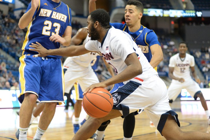 UConn redshirt junior guard Sam Cassell Jr. dribbles to the basket during the Huskies' preseason exhibition game against the University of New Haven at XL Center in Hartford, Connecticut on Nov. 7, 2015. (Bailey Wright/The Daily Campus)