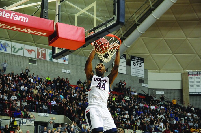 UConn guard Rodney Purvis dunks during a game last season at Gampel Pavilion in Storrs, Connecticut. The team released its conference schedule on Tuesday. (File Photo/The Daily Campus)
