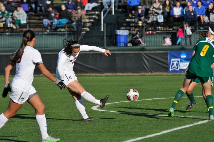 The UConn women's soccer team used an offensive explosion where four different players scored to defeat Siena 5-0 in the opening round of the NCAA tournament at Joseph J. Morrone Stadium on Sunday, Nov. 15, 2015. (Amar Batra/The Daily Campus)