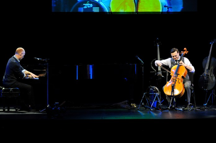 Members of The Piano Guys are seen performing at the Jorgensen Center for the Performing Arts in Storrs, Connecticut on Friday, Nov. 13, 2015. (Jason Jiang/The Daily Campus)