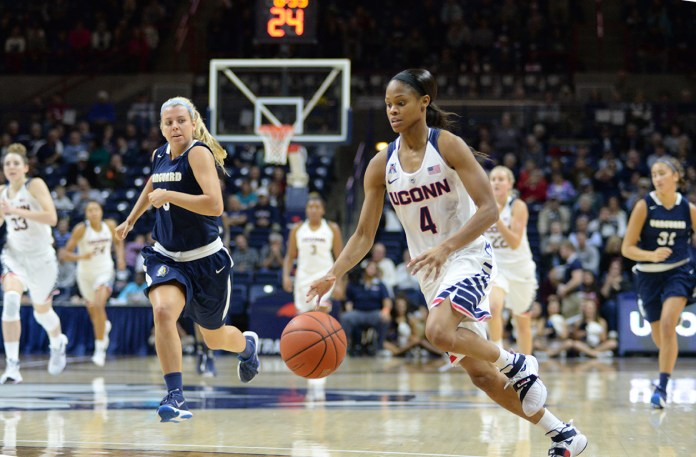UConn women's basketball guard Moriah Jefferson dribbles toward the basket during the Huskies' exhibition game against Vanguard at Gampel Pavilion in Storrs, Connecticut on Sunday, Nov. 8, 2015. Jefferson finished the game with 20 points, 4 assists and 6 steals. (Ashley Maher/The Daily Campus)