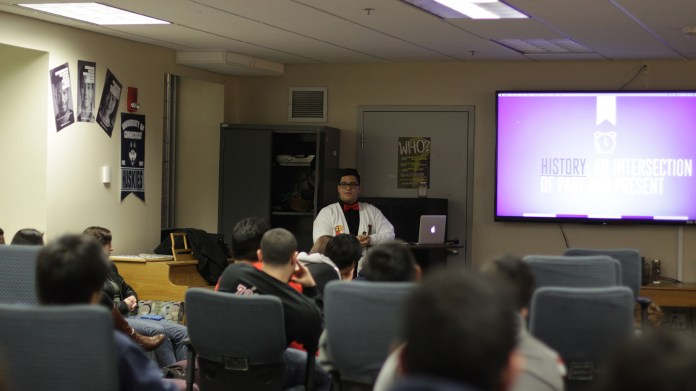 """Students are seen during """"Masoquista: The Gender (Non-Binary)"""" at the Rainbow Center in UConn's Student Union on Monday, Nov. 16, 2015. (Mei Buzzell/The Daily Campus)"""