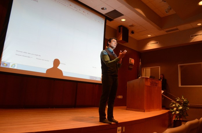 Dr. Glenn Mitoma, an associate professor of Human Rights and Education, led a discussion on the subject of police violence in America. (Sam Mahmoud/The Daily Campus).