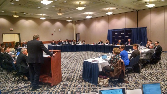 Vice Provost for Global Affairs and task force co-chair Daniel Weiner speaks to the board of trustees on Wed., Nov. 19 about diversity task force findings that show UConn's faculty average to be at national average. (Kyle Constable/Daily Campus)