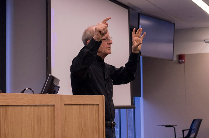 Professor James Pennebaker from the University of Texas at Austin spoke at the Weston A. Bousfield Psychology Building on Jan. 20, 2016. (William Chan/The Daily Campus)