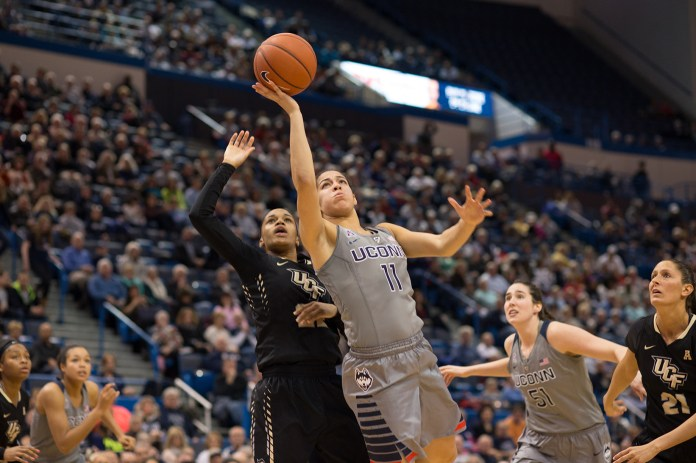 UConn sophomore guard Kia Nurse goes up for a layup during the Huskies' game against UCF at the XL Center in Hartford, Connecticut on Wednesday, Jan. 20, 2016. (Jackson Haigis/The Daily Campus)