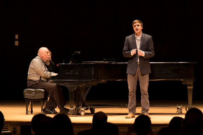 UConn student Troy Frey performs during the Freshman Sophomore Voice Honors Recital at the J. Louis von der Mehden Recital Hall in Storrs, Connecticut on Saturday, Feb. 6, 2016. (Jackson Mitchell/The Daily Campus)
