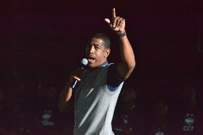 UConn men's basketball head coach Kevin Ollie greets fans during First Night. Could Ollie be the next former UConn player inducted into the Huskies of Honor?(Bailey Wright/The Daily Campus)