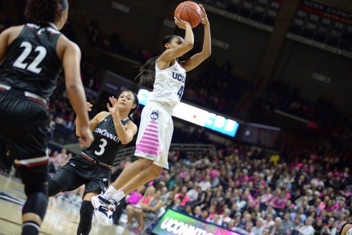 Moriah Jefferson goes up for a shot in the 88-34 victory against Cincinatti on Feb. 17, 2016. (Ashley Maher/Daily Campus)