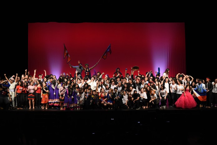 Members of 14 different Asian student organizations are seen on stage during Asian Nite 2016 at the Jorgensen Center for the Performing Arts in Storrs, Connecticut on Saturday, Feb. 20, 2016. (Allen Lang/The Daily Campus)