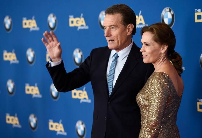 Actor Bryan Cranston and his wife Robin Dearden pose together at the 68th Directors Guild of America Awards at the Hyatt Regency Century Plaza on Saturday, Feb. 6, 2016 in Los Angeles. (Photo by Chris Pizzello/Invision/AP)