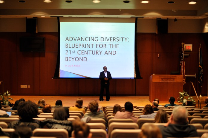 Lisa McBride talks about the job of Chief Diversity officer and the process it takes to make the university more diversified. (Jason Jiang/Daily Campus)