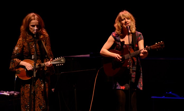 """Folk singers Patty Griffin (left) and Anaïs Mitchell perform a show on their national """"Use Your Voice 2016"""" tour in the Jorgensen Center for the Performing Arts in Storrs, Connecticut on Saturday, March 5, 2016. (/The Daily Campus)"""
