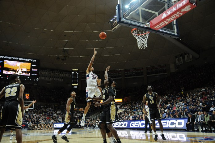 Shonn Miller goes to the rim during UConn's victory over UCF at Gampel Pavilion on March 6, 2016. Miller is averaging a team high 12.3 points per game. (Bailey Wright/The Daily Campus)