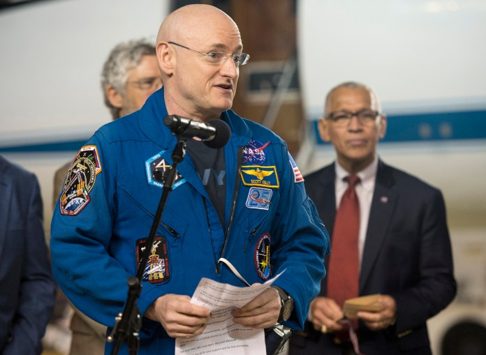 Expedition 46 Commander Scott Kelly of NASA delivers remarks upon arriving at Ellington Field, Thursday, March 3, 2016 in Houston, Texas, after his return to Earth.(Joel Kowsky/NASA via AP)