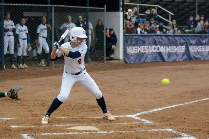UConn softball infielder Lexi Gifford prepares to take a swing during the Huskies' game against USF in April 2015. (File Photo/The Daily Campus)