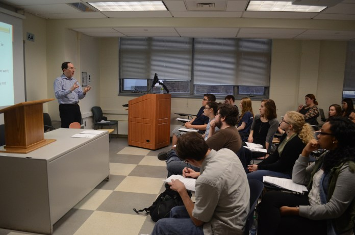 """Book industry veteran Sean P. Fodera speaks during his lecture """"An Introduction to Foreign and Subsidiary Rights Licensing"""" held in the Philip E. Austin Building in Storrs, Connecticut on Thursday, March 10, 2016. (Sam Mahmud/The Daily Campus)"""