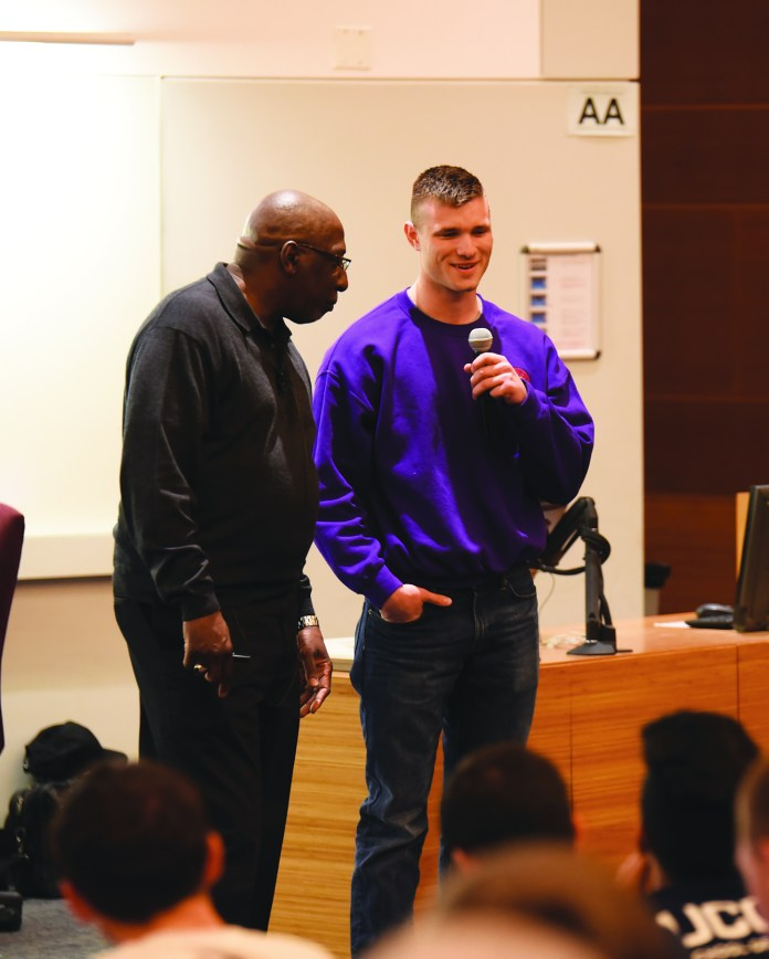 To demonstrate his point, TED Talk host, activist and educator Tony Porter asked a young man to share his personal experience love in his lecture on Tuesday, March 29, 2016.(Zhelun Lang/Daily Campus)