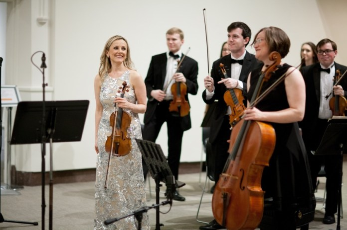 Solomiya Ivakhiv, assistant professor of violin and viola and the head of the strings department, smiles during a performance in the William Benton Museum of Art in Storrs, Connecticut on Friday, April 1, 2016. (Courtesy/Andy Hudymyak/YPM Photography)