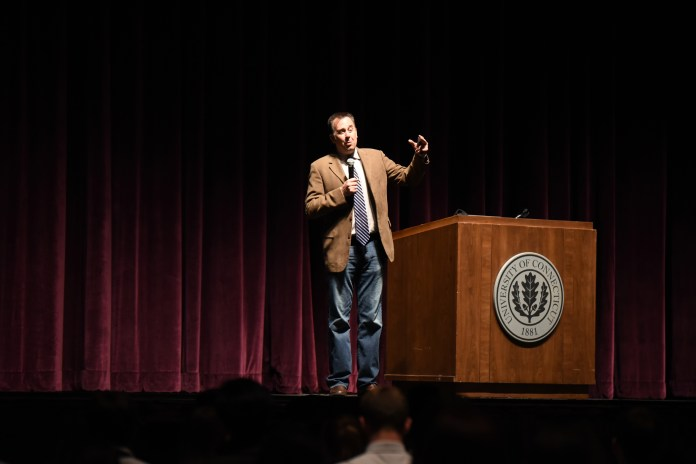 Motivational speaker Corey Ciocchetti spoke to UConn students at the Jorgensen Center for the Performing Arts on Monday, April 4. He preached the importance of family and friends over money. (Zhelun Lang/The Daily Campus)