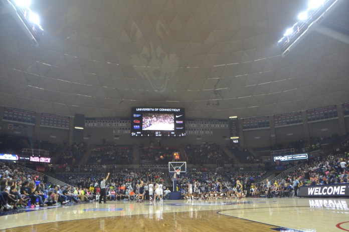 The ceiling at Gampel Pavillion is missing outer lining, leading to leaks. (Bailey Wright/Daily Campus)
