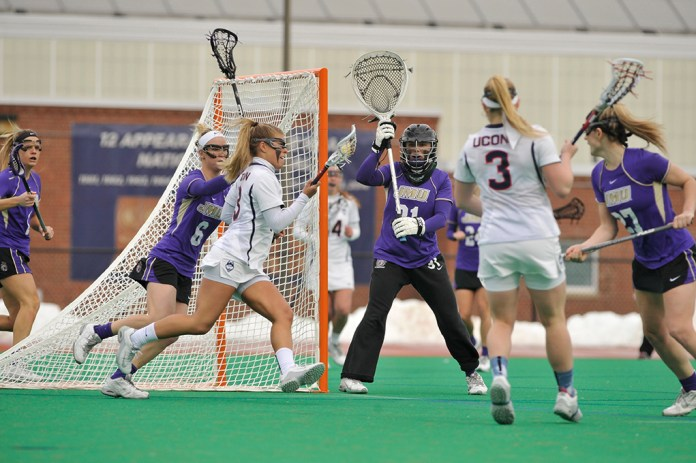 2/21/16 Women's Lacrosse defeated JMU12-10 at the Sherman Family Sportsplex on February 21, 2016. The Huskies will honor 10 seniors and one graduate senior on Senior Day on Saturday. (Jason Jiang/The Daily Campus)
