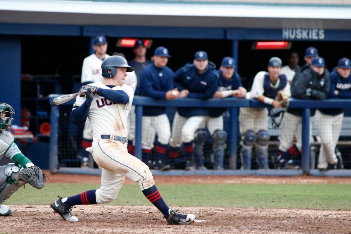 Centerfielder Jack Sundberg hits during UConn's loss to Tulane 14-5 loss to Tulane at J.O. Christian Field on April 2, 2016. Sudberg leads the team with a .316 batting average. (Tyler Benton/The Daily Campus)