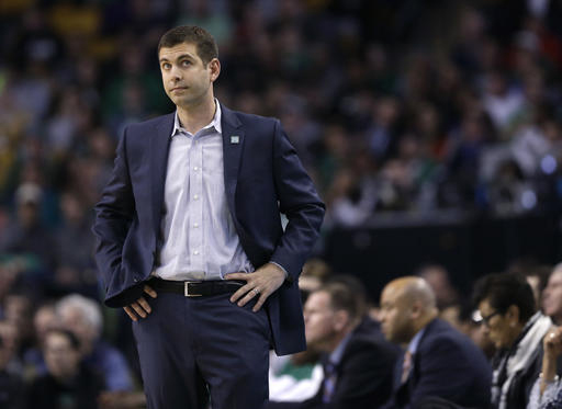 Boston Celtics head coach Brad Stevens reacts on the sidelines in the first quarter of an NBA basketball game against the Miami Heat, Wednesday, April 13, 2016, in Boston. (AP Photo/Elise Amendola)