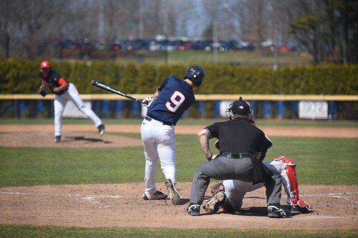 UConn catcher Alex LaFevre takes a swing during UConn's 4-1 victory over No. 25 Houston at J.O. Christian Field on Saturday April 16, 2016. LaFevre is hitting .300 in 12 starts. (Zhelun Lang/The Daily Campus)