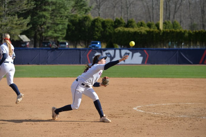 The UConn women's softball team fell to the UMass minutewomen 7 to 4 at Burell Family Field on Tuesday afternoon. (Amar Batra/The Daily Campus)