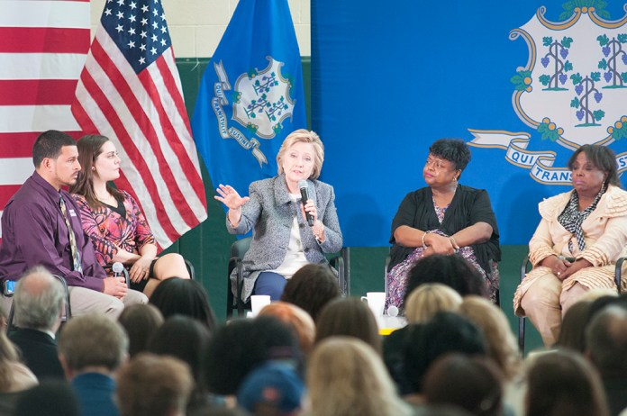 """""""We need a national movement,"""" Clinton told the crowd of more than 300 gathered in the Wilson-Gray YMCA in Hartford. (Kyle Constable/Daily Campus)"""