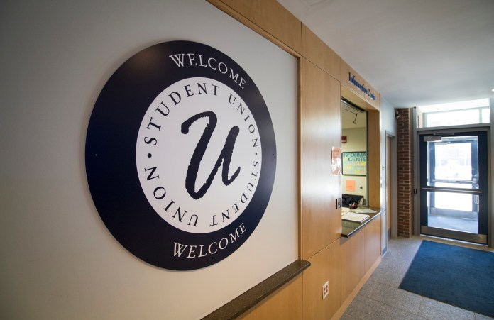 A welcome sign inside the UConn Student Union on the UConn campus in Storrs, Connecticut. The building houses a number of student clubs and organizations.(Jackson Mitchell/The Daily Campus)