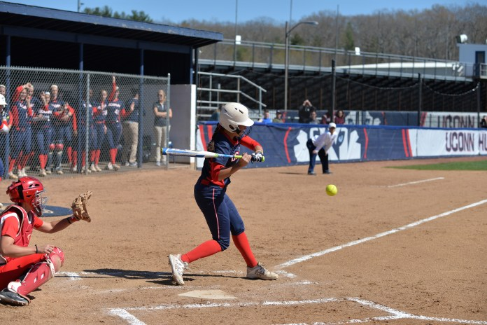 UConn softball outfielder Heather Fyfe takes a swing during the Huskies' game against the University of Hartford at Burrill Family Field in Storrs, Connecticut on Wednesday, April 27, 2016. (Amar Batra/The Daily Campus)