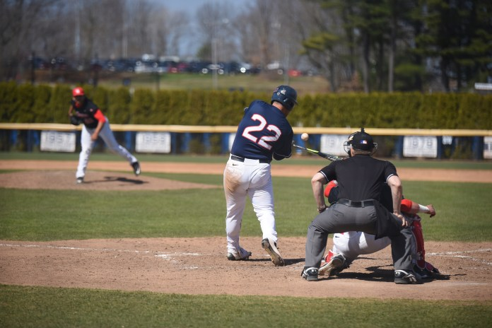 UConn baseball infielder Joe DeRoche-Duffin takes a swing during the Huskies' game against the University of Houston at J.O. Christian Field in Storrs, Connecticut on Friday, April 15, 2016. (Allen Lang/The Daily Campus)