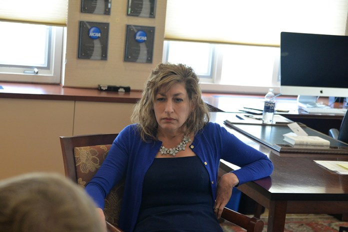 Senior staff writer Kyle Constable interviewed University of Connecticut President Susan Herbst during her office hours on Friday, April 29, 2016. She was joined by her deputy chief of staff, Michael Kirk.(Amar Batra/Daily Campus)