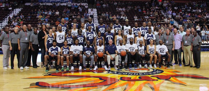 Former stars who got their rise through the UConn men's and women's basketball programs participated in the 2016 Jim Calhoun Charity All-Star Classic at Mohegan Sun Arena on Friday August 12, 2016.