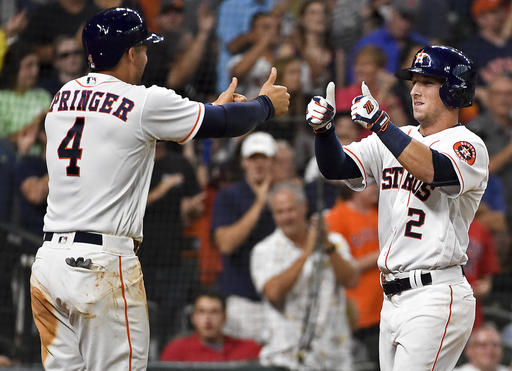 Houston Astros' Alex Bregman (2) celebrates his two-run home run off Tampa Bay Rays' starting pitcher Blake Snell with George Springer in the third inning of a baseball game, Saturday, Aug. 27, 2016, in Houston. (AP Photo/Eric Christian Smith)