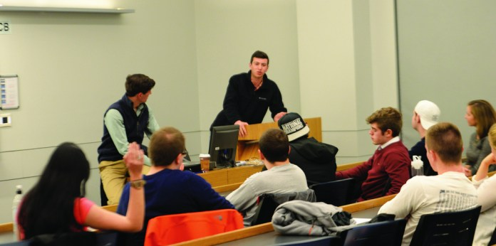 In this photo from a debate on abortion last year, members of the College Republicans meet and discuss issues for the Republican party. This year, they have decided not to endorse Donald Trump. (Amar Batra/The Daily Campus)