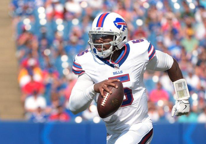 Buffalo Bills quarterback  Tyrod  Taylor (5) runs the ball against the New York Giants during the first quarter of a preseason NFL football game, Saturday, Aug. 20, 2016, in Buffalo, N.Y. (Gary Wiepert/AP)