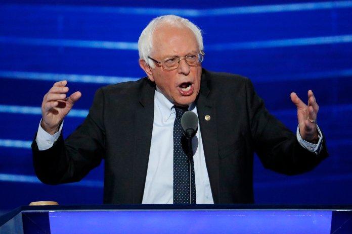 In this July 25, 2016 file photo, Sen. Bernie  Sanders , I-Vt. speaks at the Democratic National Convention in Philadelphia.  (J. Scott Applewhite/AP)