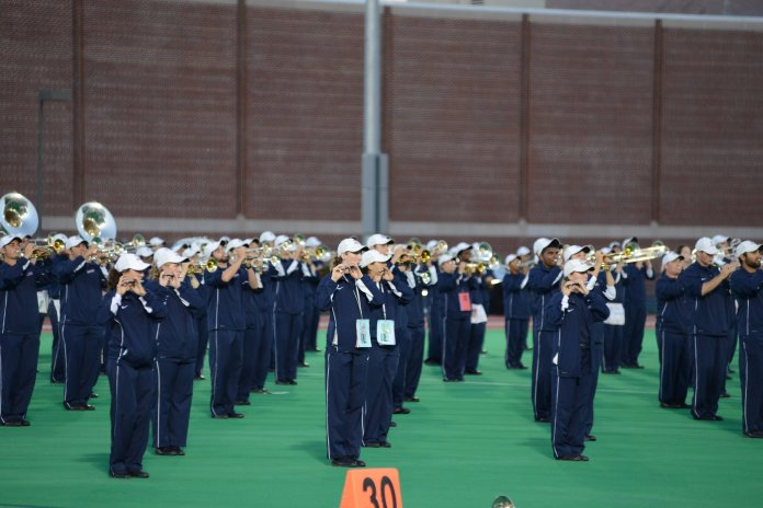 The UConn Marching Band gave a preview show at the Sherman Family Complex on Saturday night. (Jason Jiang/The Daily Campus)