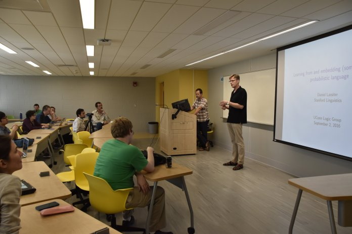 Dan Lassister, a professor in linguistics at Stanford University, came to speak to UConn faculty and students regarding his work in his field. This is an event planned to be run annually so as to further research and overall knowledge of logic. (Grant Zitomer/The Daily Campus)