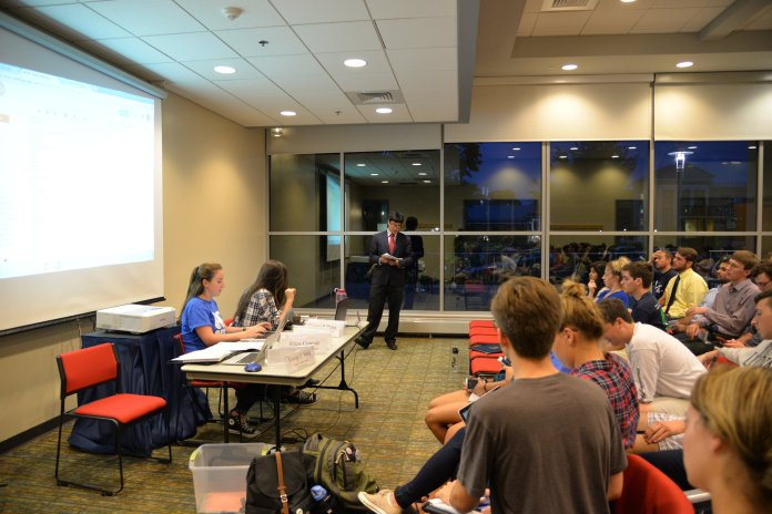 USG had its first meeting of the 2016-2017 school year in the student union on Wednesday evening. Items on the agenda included swearing in new senators, committee presentations and the discussion and passage of new election legislature. (Amar Batra/The Daily Campus)